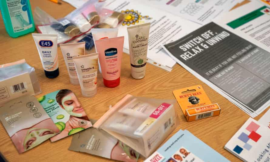 Self help literature and cosmetics provided for NHS staff in a wellbeing and support centre (SWSS) in Rhyl.