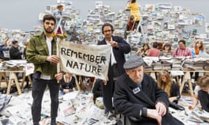 Art students in London responding to a call by Gustav Metzger, seated, for a day of action to remember nature, 2015.