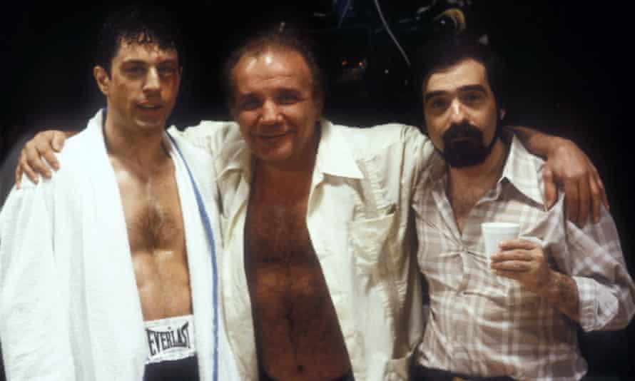 Robert De Niro, Jake LaMotta and Martin Scorsese on the set of Raging Bull, 1980.