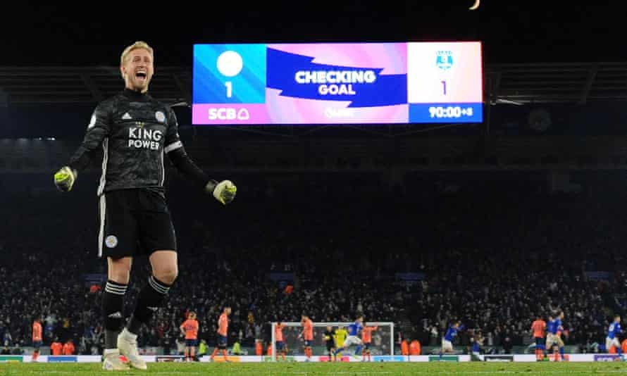 Kasper Schmeichel celebrates Leicester's late winning goal against Everton on Sunday, although not everybody was still at the King Power Stadium to see it.