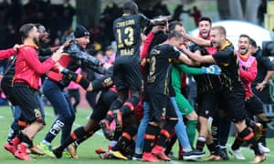 General delirium for Benevento's players against Milan.