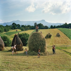 The whole Borca family, from Breb, puts finishing touches on one of the 40 haystacks it makes each summer in Maramureș, Romania, 2012.