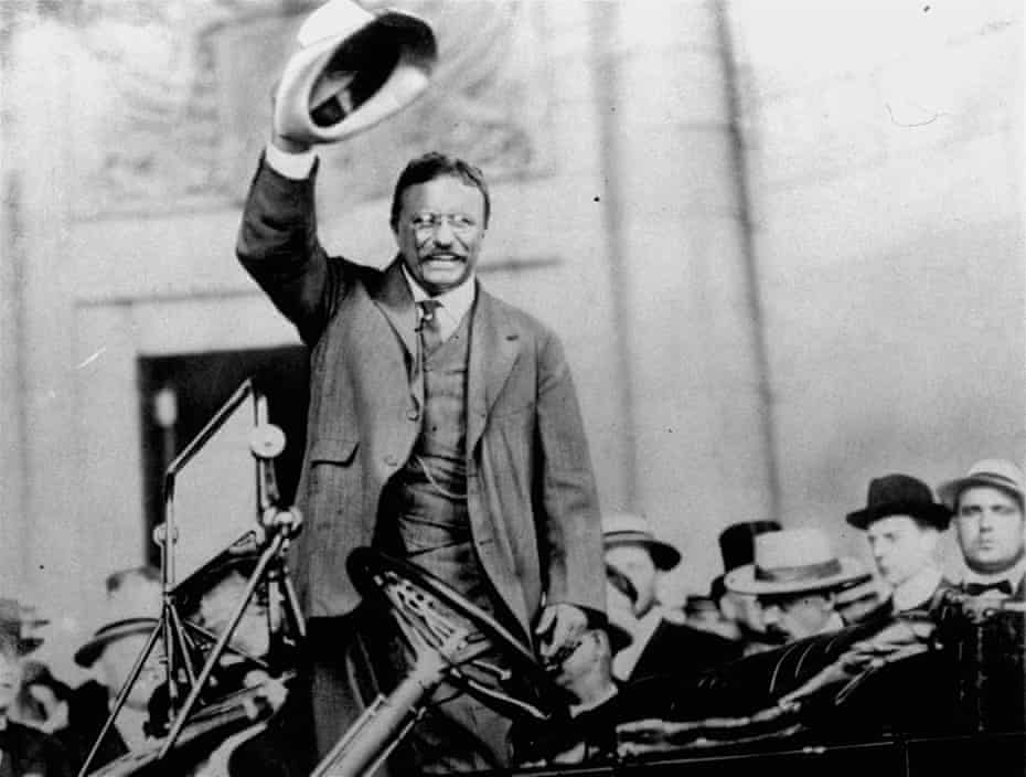 Theodore Roosevelt campaigns for president, in 1904.