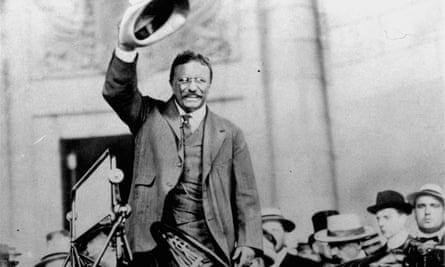 Theodore Roosevelt campaigns for president in 1904.