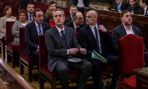 The 12 separatist leaders sit at their trial at the Spanish supreme court in Madrid.