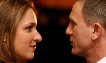British actor Daniel Craig, the current James Bond, talks to producer Barbara Broccoli.