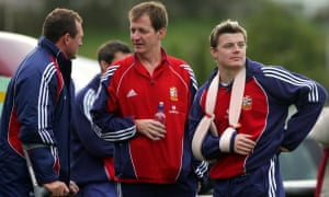 Alastair Campbell with Brian O'Driscoll and Richard Hill in 2005.