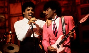 Morris Day (left) and the Time perform in Chicago, Illinois, in 1983