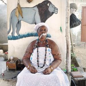 Idelphonse Adogbagbe, a priestess of Mami Tchamba (a form of Voodoo), Grand-Popo, Benin, 2011.
