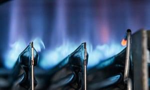 A gas boiler flame