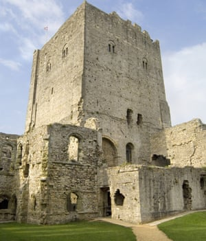 The keep at Portchester Castle, viewed from inside.