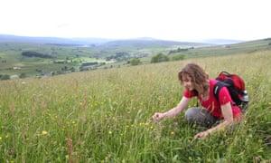 AONB diversity officer Rebecca Barrett in the meadows near Cornriggs in Weardale.