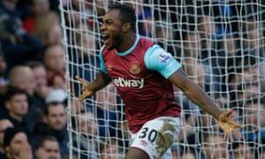 West Ham's Michail Antonio celebrates after opening the scoring.