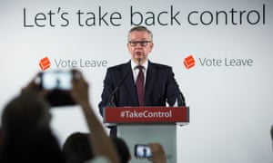 Teaching a lesson in British pluck … Michael Gove at Vote Leave campaign headquarters, June 2016.