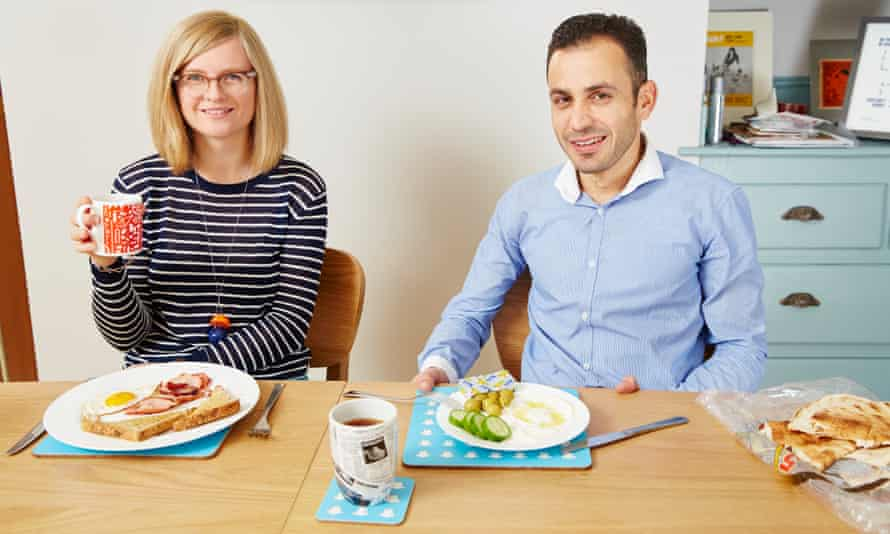 Guardian writer Helen Pidd at home in Manchester with her Syrian lodger, Yasser Al Jassem