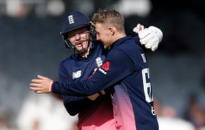 Root and Billings celebrate taking the wicket of Wilson.