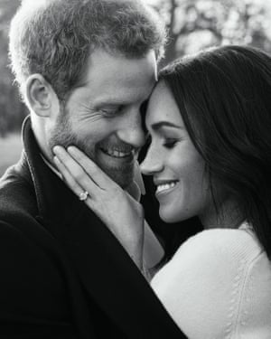 The black and white image of the happy couple