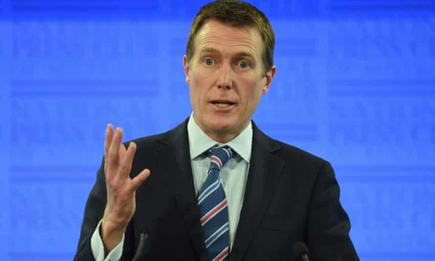 Australian Social Services Minister Christian Porter addresses the National Press Club