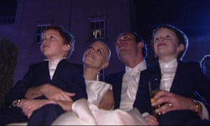 Fairytale defiance … Goody, after losing her hair through cancer treatment, on her wedding day with her sons and new husband Jack Tweed.