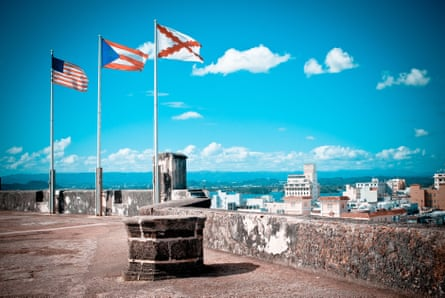 Flags on top of the fortress in Old San Juan in Puerto Rico.