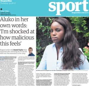 The Guardian sport front page on 22 August of this year.