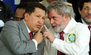 Presidents Hugo Chavez, left, of Venezuela and Luiz Inácio Lula da Silva of Brazil, pictured together in 2007.