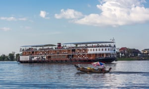 RV Mekong Pandaw boat has been carrying tourists along the river from Vietnam to Cambodia since 2003.