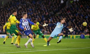 Leondro Trossard of Brighton and Hove Albion scores his team's first goal.