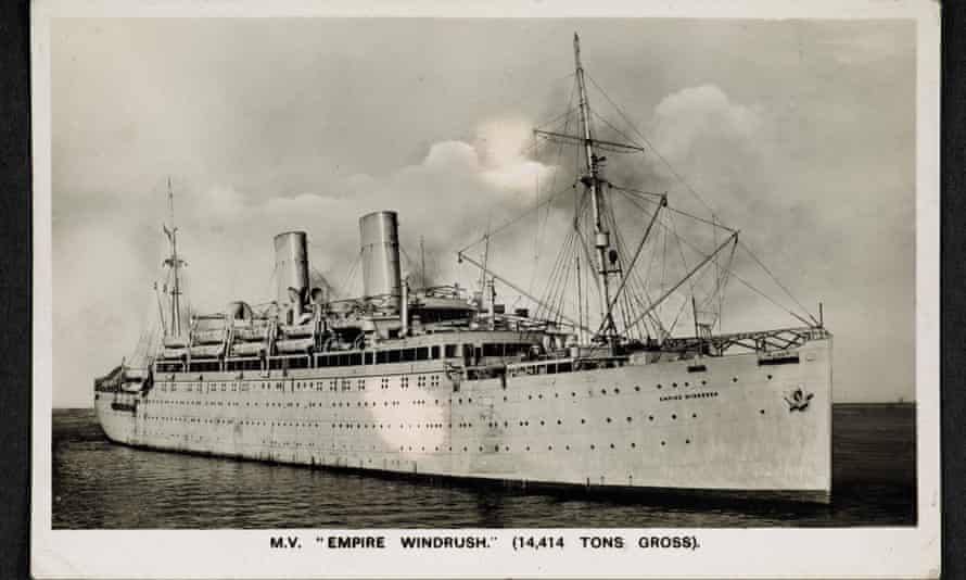 Postcard of Empire Windrush purchased on board by Winston Levy