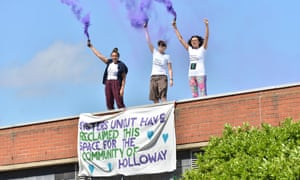 Sisters Uncut have occupied Holloway Prison in protest over government cuts to domestic violence services.