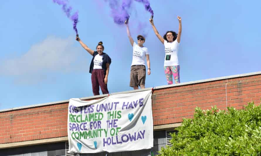 Sisters Uncut group occupy part of Holloway Prison in May 2017, in protest against government cuts to domestic violence services.