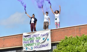 Sisters Uncut occupied part of Holloway prison in protest at cuts to domestic violence services this year.
