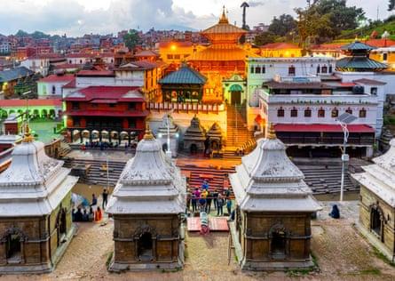Sunset at Pashupatinath temple in Kathmandu.
