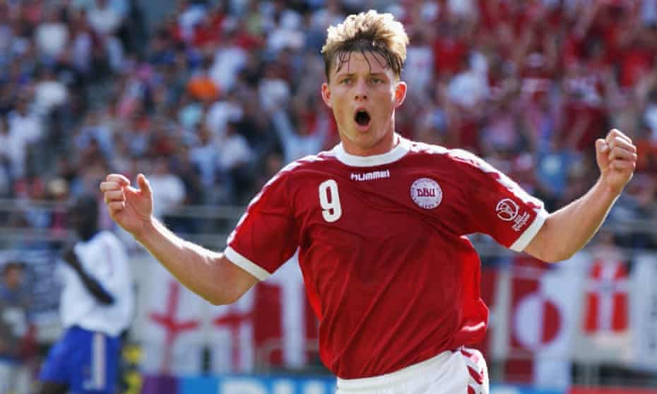 Jon Dahl Tomasson celebrates scoring the second goal in Denmark's 2-0 win against France which dumped the then reigning World cup holder out of the 2002 tournament in the group stage.