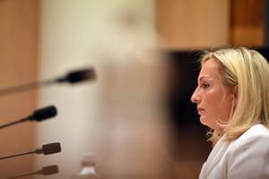 Christine Holgate appears before a Senate inquiry in April