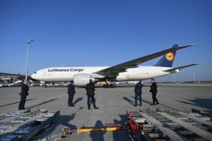 A Lufthansa Cargo aircraft from Shanghai, carrying 8 million protective masks, is seen after landing at the international airport in Munich, Germany, on Tuesday