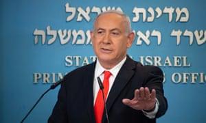 Benjamin Netanyahu at a coronavirus briefing on Sunday.