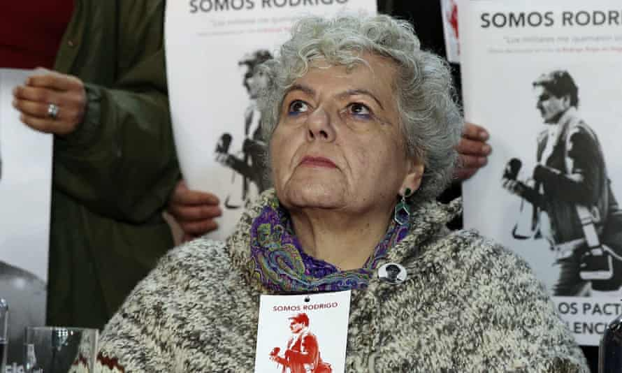 The mother of Chilean photographer Rodrigo Rojas Denegri, Veronica Denegri, participates in a tribute to her son on Tuesday.