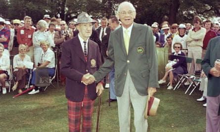 Clifford Roberts, right,  with starter Fred McLeod at the 1976 Masters