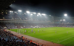 Winston Reid scores the winning goal and the final goal to be scored at the Boleyn Ground during the West Ham United v Manchester United Premier League match in May 2016.