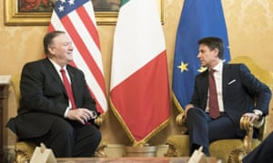 Mike Pompeo with Giuseppe Conte in Rome
