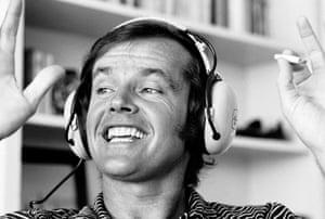 Actor Jack Nicholson wearing headphones