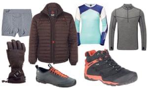 From left: Blazewear heated glove, Boody men's boxers, Blazewear heated jacket, Arcteryx Acrux SL approach shoe Helley Hansen long sleeve Lifa crew top, Merrel Chameleon 7 boots and TOG24 long sleeve zip neck top