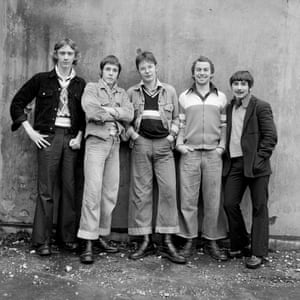 Boot Boys by Daniel Meadows. From left: Brian Morgan, Martin Tebay, Paul McMillan, Phil Tickle, Mike Comish. Barrow-in-Furness, Cumbria, 1974.