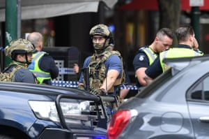 Police secure Bourke Street in Melbourne, Australia,  after a terrorist attack. One person was fatally stabbed and two others were injured