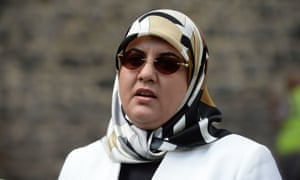 Fatima Boudchar outside the Houses of Parliament in London.