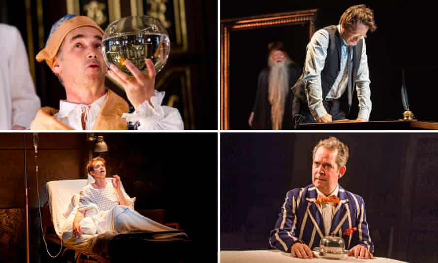 Clockwise from top left: Mark Rylance (Farinelli and the King), Jamie Parker (Harry Potter and the Cursed Child), Tom Hollander (Travesties) and Andrew Garfield (Angels in America).