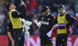 New Zealand's 12th man Tim Southee finds himself having to call for throat spray during the 2019 World Cup game against Afghanistan.