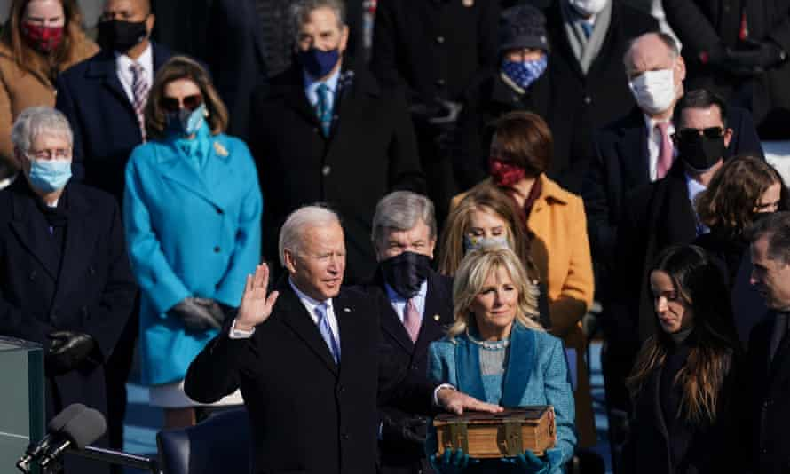 Biden at his presidential inauguration. Biden has proposed a $1.9tn stimulus package, which includes enhanced funding for vaccine distribution.