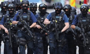 Counter terrorism officers near the scene of June's terror attack at London Bridge, where three attackers killed eight people. Five people were killed by Khalid Masood in March's Westminster Bridge attack.